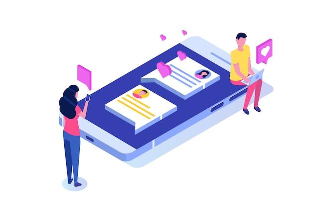 Relacionamentos virtuais, namoro online, conceito de rede social.