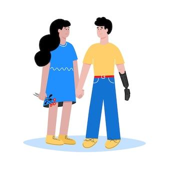 Relações amorosas entre mulher e homem deficiente com prótese de membro