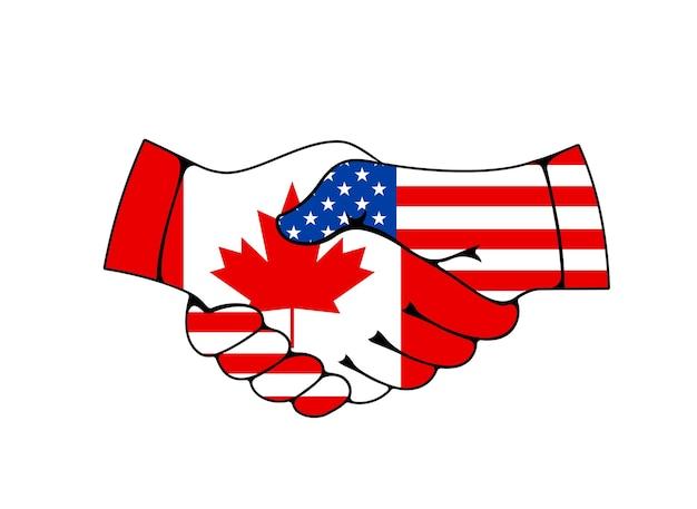 Relações canadá e eua, cooperação comercial e empresarial. apertando a mão com as bandeiras dos eua e do canadá