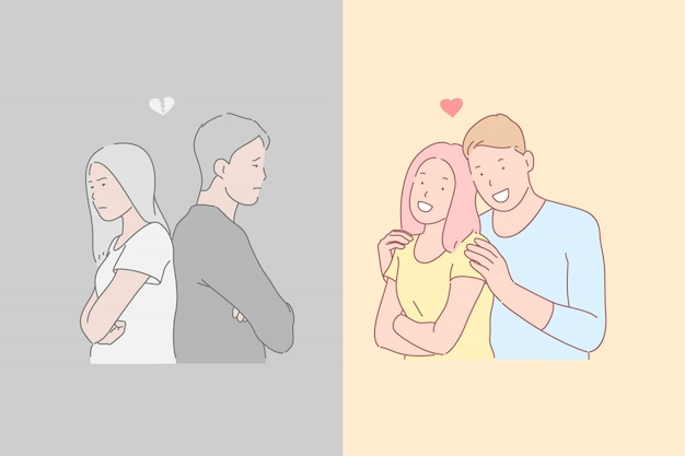 Relações humanas, desacordo e harmonia, ilustração de emoções opostas