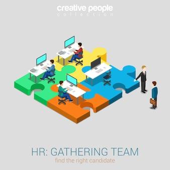Relações humanas reunindo equipe de rh solução plana 3d web
