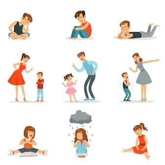 Relações mútuas de pais e filhos, mãe e pai gritam e repreendem seus filhos, emoções negativas dos filhos