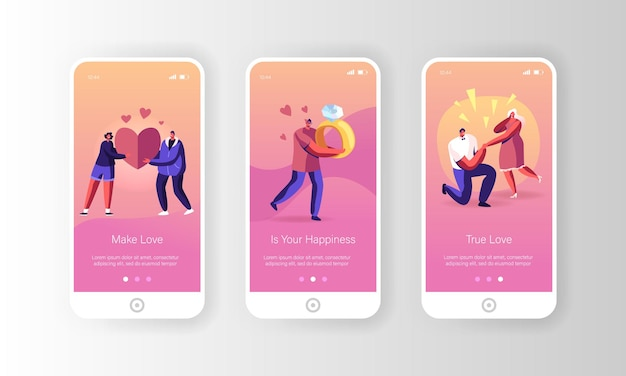 Relações românticas e conjunto de tela a bordo da página do aplicativo móvel da proposta.