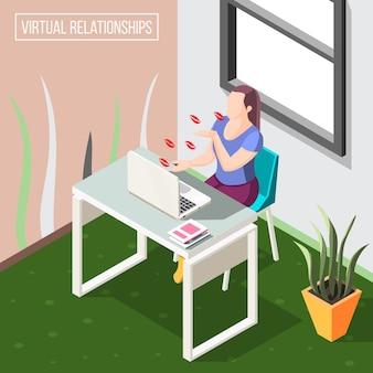 Relações virtuais isométricas de fundo com mulher enviando beijos no ar pela câmera de vídeo no laptop.