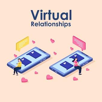 Relações virtuais, namoro online e conceito de rede social
