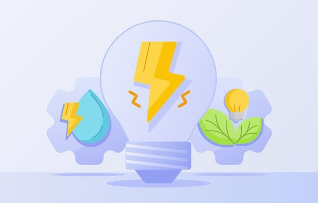 Relâmpago de conceito de energia de energia limpa em folha de gota de água de lâmpada bulbo