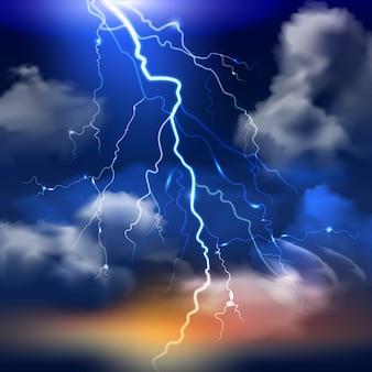 Relâmpago e céu tempestuoso com nuvens pesadas fundo realista