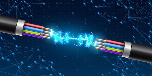 Relâmpago elétrico brilhante entre o cabo de ruptura.