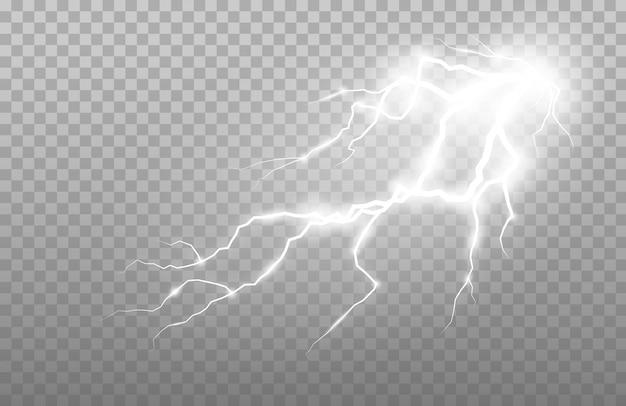 Relâmpagos e trovões realistas. ilustração abstrata de descarga elétrica.