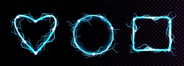 Relâmpagos elétricos azuis realistas de vetor
