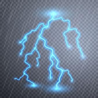 Relâmpagos realistas com transparência. tempestade de trovões e relâmpagos. efeitos de iluminação mágicos e brilhantes.