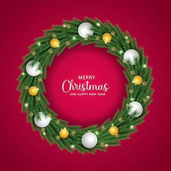Relativo feliz natal e ano novo ouro e bolas brancas fundo natural de inverno