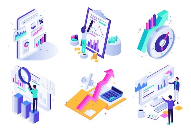 Relatório analítico de mercado. auditoria financeira, revisão da estratégia de marketing e conjunto de ilustração isométrica de estatística de negócios finanças