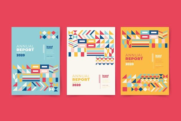 Relatório anual abstrato colorido com design tradicional