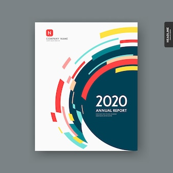 Relatório anual abstrato colorido fundo de desenho de círculo geométrico