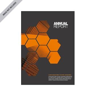 Relatório anual cinza com detalhes em laranja