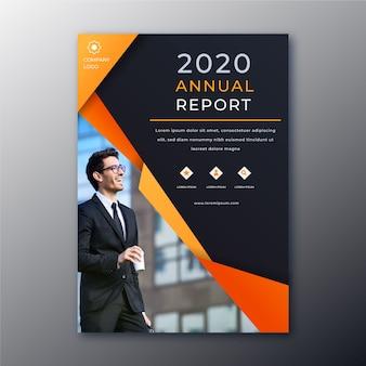 Relatório anual com modelo abstrato de imagens