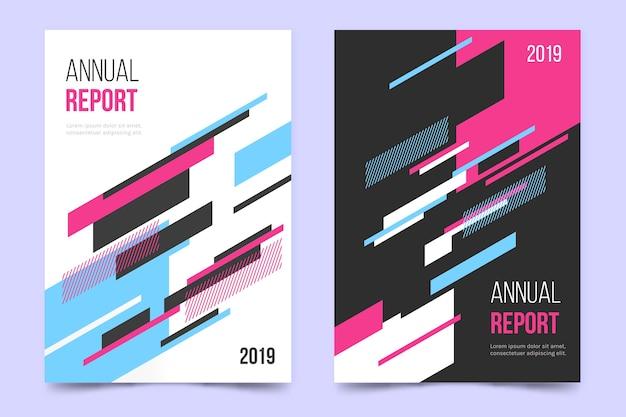 Relatório anual com modelo de linhas coloridas geométricas