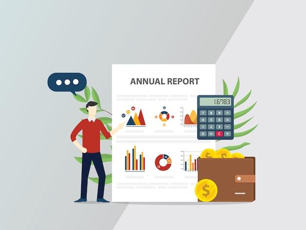 Relatório anual, conceito, com, pessoas, dar, apresentação
