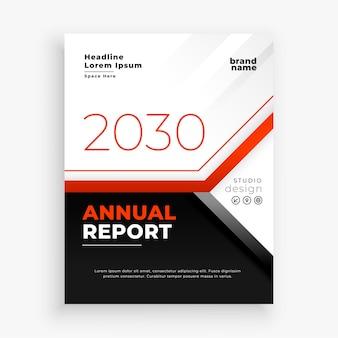 Relatório anual da empresa em tema vermelho