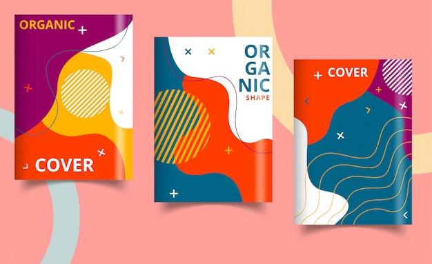 Relatório anual de design de capa de livro, revista. conjunto de negócios. ilustração