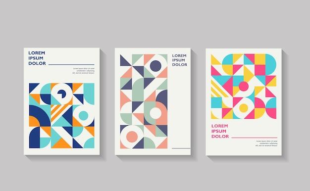 Relatório anual de folheto de capa geométrica retrô