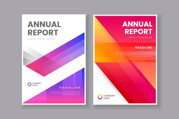 Relatório anual em modelo de tons de gradiente