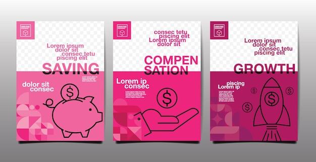 Relatório anual, futuro, negócios, design de layout de modelo, livro de capa, tom magenta