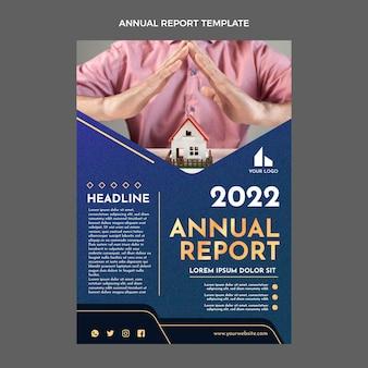 Relatório anual imobiliário de textura gradiente