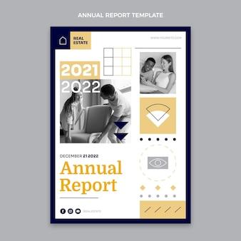 Relatório anual imobiliário geométrico de design plano