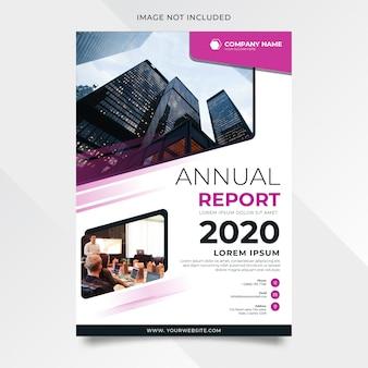 Relatório anual moderno com forma roxa