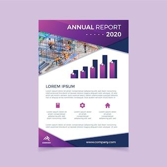 Relatório anual roxo com foto