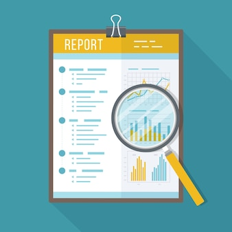 Relatório comercial, documento em papel com lupa. ícone isolado com sombra longa. gráficos de gráficos em um papel. contabilidade, análise, pesquisa, planejamento, auditoria, relatório, gestão.