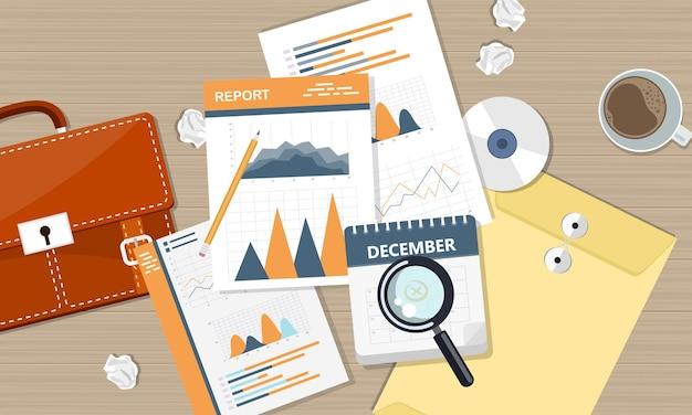 Relatório comercial e financeiro, vista superior