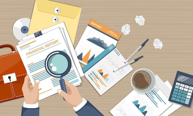Relatório contábil e financeiro, vista superior