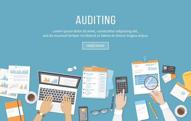 Relatório de análise de dados de cálculo de auditoria de reunião de negócios de contabilidade pessoas no trabalho
