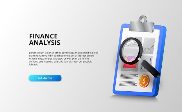 Relatório de análise de gráfico de dados com prancheta e lupa para auditoria, contabilidade e cheque para finanças, bancos, negócios e escritórios. modelo de página de destino
