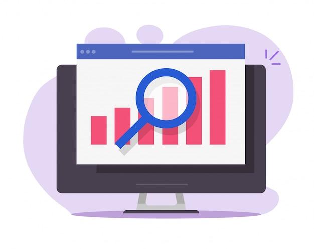 Relatório de análise de pesquisa de vendas de auditoria financeira on-line no ícone de pc do computador desktop
