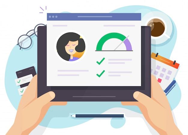 Relatório de classificação de pontuação de crédito pesquisa de cheques financeiros online ou histórico de habilidades de informações pessoais com boa avaliação de dados
