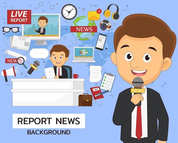 Relatório de conceito de notícias. ícones planos.