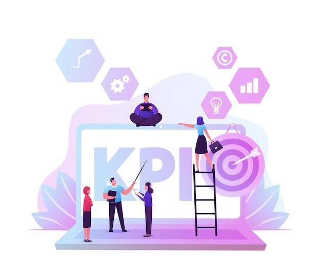 Relatório de dados kpi, indicadores-chave de desempenho com personagens de negócios e elementos infográficos, análise de métricas. ilustração plana dos desenhos animados