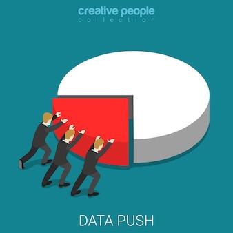 Relatório de dados push isométrico plano
