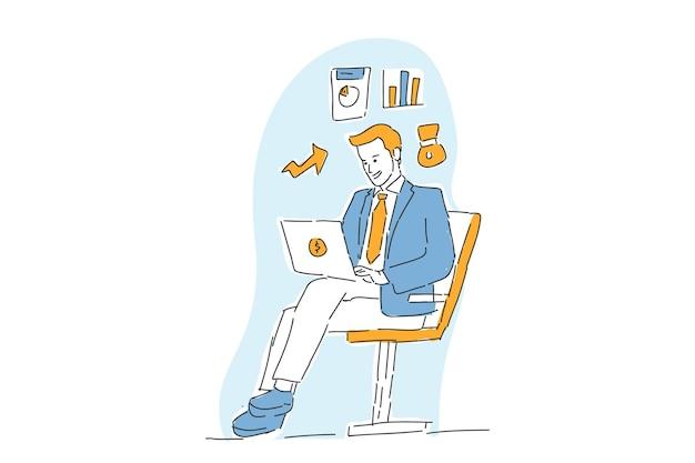 Relatório de empresário financeiro com ilustração desenhada à mão de aplicativos online
