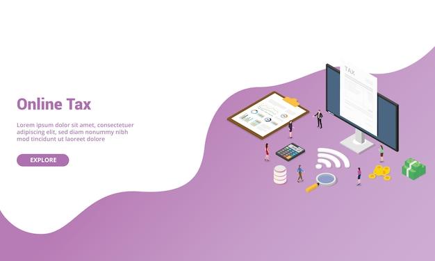 Relatório de imposto on-line isométrico para modelo de site ou banner da página inicial de destino