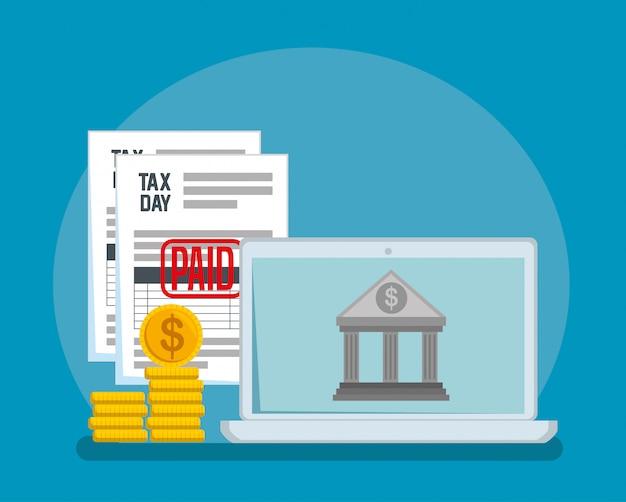 Relatório de imposto sobre serviços com moedas e banco
