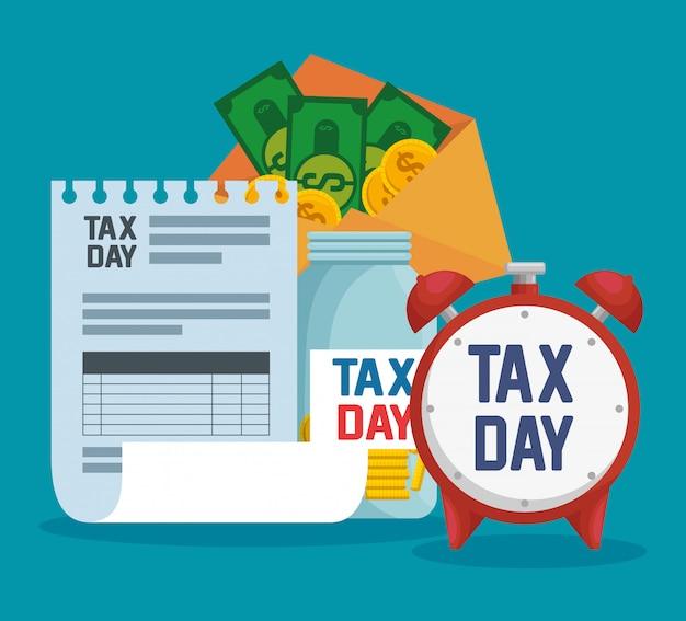 Relatório de imposto sobre serviços com moedas e notas