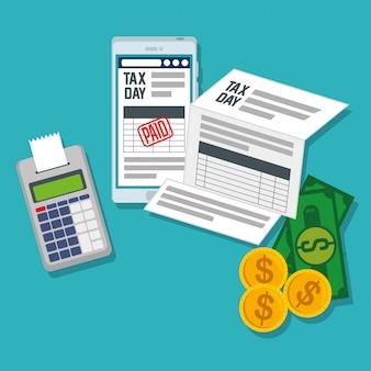 Relatório de imposto sobre serviços com smartphone e telefone de dados