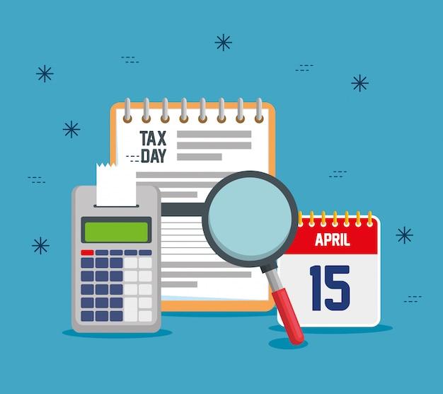 Relatório de imposto sobre serviços com telefone de dados e calendário