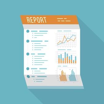 Relatório de negócios, documento em papel dobrado, ícone isolado com longa sombra.