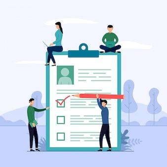 Relatório de pesquisa, lista de verificação, questionário com personagens
